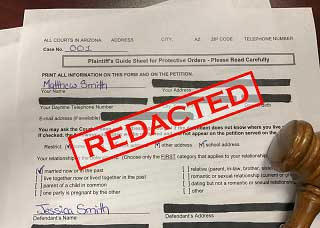 Image of a redacted court form